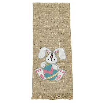 Disco oreja conejo huevo de Pascua Appliqued toalla de cocina de mirada de arpillera de algodón