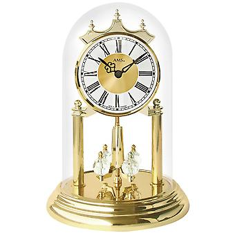 AMS annual clock table clock quartz brass look with glass globe rotating pendulum clock