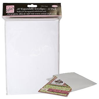 12 A5 Expandable Envelopes - White | Card Making Blanks