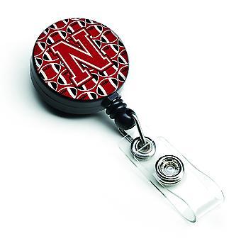 Buchstabe N Fußball rot, schwarz und weiß versenkbare Abzeichen Reel