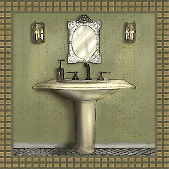 Bathroom In Green III Poster Print by Lenny Karcinell (12 x 12)