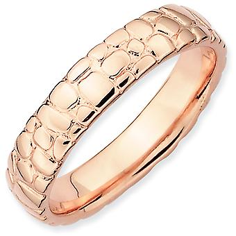 Sterling Silver Polished Patterned Stackable Expressions Pink-plated Ring - Ring Size: 5 to 10