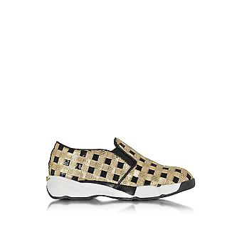 Pinko women's 1H208DY2L1ZZLGOLD gold sequin slip on sneakers