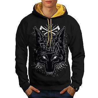 Wolf Freak Men Black (Gold Hood)Contrast Hoodie | Wellcoda
