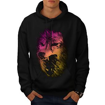 Wolf Colorful Face Animal Men BlackHoodie | Wellcoda