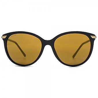 Burberry Round Cateye Sunglasses In Black Gold Mirror