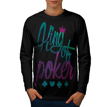 King of Poker Card Men BlackLong Sleeve T-shirt | Wellcoda