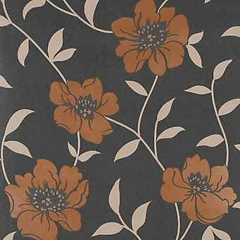 Fresco Charcoal Wallpaper Roll - Flat Floral Lucie Design - Colour: 58112