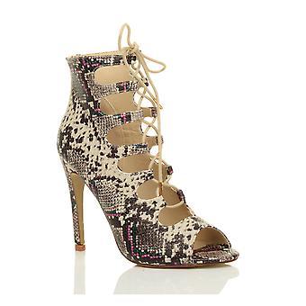 Ajvani kvinnors hög klack spetsar upp gladiator klipp ut bur fotled sandaler skor