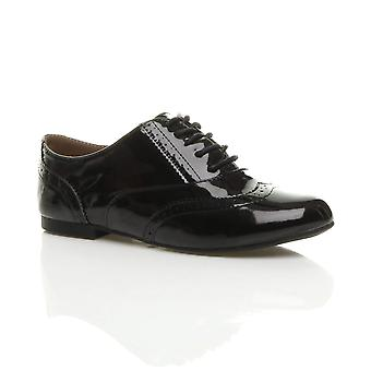 Ajvani womens casual brogue lace up vintage flat school work shoes
