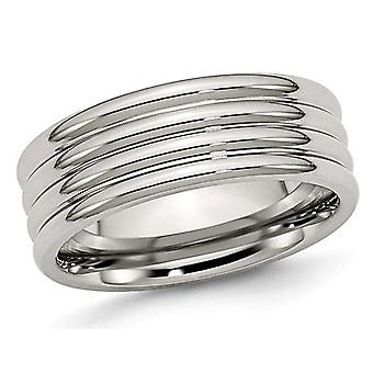 Ladies Chisel 8mm Stainless Steel Grooved Comfort Fit Wedding Band