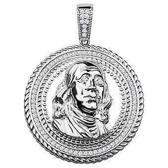 925 Sterling sølv anheng - Benjamin Franklin $100