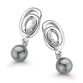 Orphelia Silver 925 Earring Spiral With Grey Pearl Zirc  ZO-7116