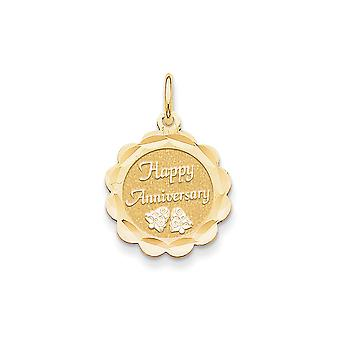 14k Yellow Gold Faceted Polished Flat back Engravable Happy Anniversary Charm - Measures 25.2x17.3mm