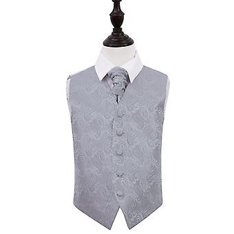 Silber Paisley Hochzeit Weste & Krawatte Set für jungen