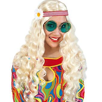 Wig with headband flower power 70s hippie