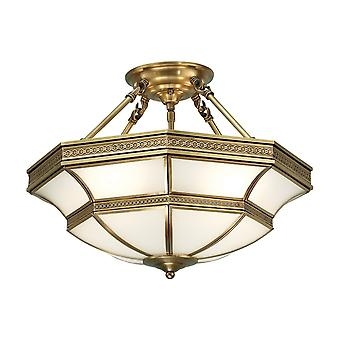 Interiors 1900 Balfour Traditional Style Bronze Tiffany Semi-Flush Ceiling Lamp