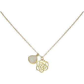 Gemshine - Damen - Halskette - Anhänger - 925 Silber - Vergoldet - ART DECO - Blume - Rose - DRUZY - Weiß - Quarz - 45 cm