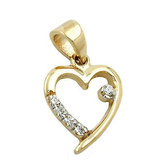 Heart pendants gold 375 pendant, heart with Zircons, 9 KT GOLD