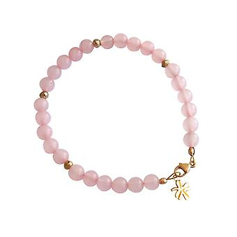 Rose Quartz bracelet Bangle gemstone bracelet Rose Quartz bracelet gold plated