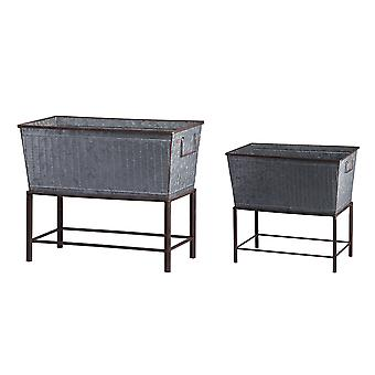 RTS-Rectangular Galvanized Metal Tub Planters On Stand Set of 2