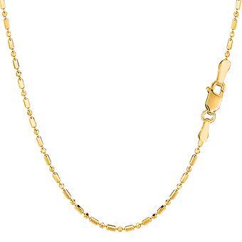 14k Gelb Gold Diamanten geschnitten Kette Halskette, 1,5 mm