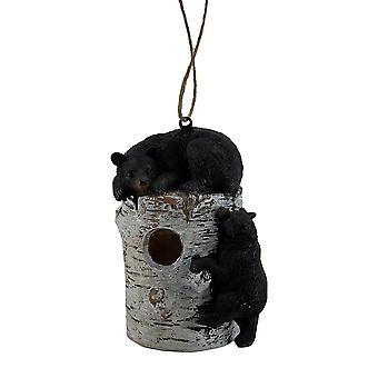 Bear Pause Sleepy Black Bears On Birch Log Birdhouse
