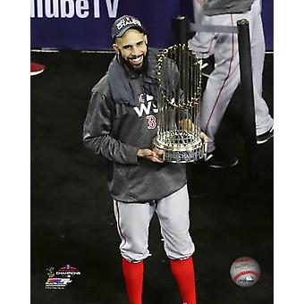 David Price with the World Series Championship Trophy Game 5 of the 2018 World Series Photo Print