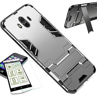 For Samsung Galaxy J4 pluss J415F metall tilfelle TPU silikon sølv stil hybrid + 0,26 mm 2.5 d H9 herdet glass bag coveret ermet