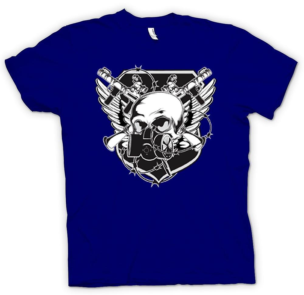 Hombres camiseta-cráneo con máscara de Gas y armas cruzadas diseño