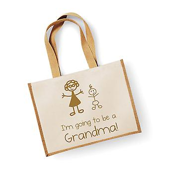 Large Natural Gold Jute Bag I'm Going To Be A Grandma