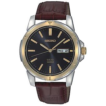 Seiko Solar Brown Leather Strap Men's Watch SNE102P9