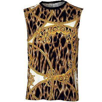 Versace Baroque Luxe Tank Top Vest, Gold/black