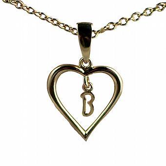 Oro 9ct 18x18mm B iniziale in un cuore pendente con un cavo catena 20 pollici
