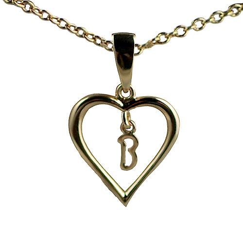 9ct Gold 18x18mm initial B in a heart Pendant with a cable Chain 16 inches Only Suitable for Children