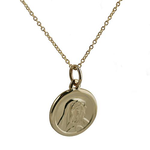 9ct Gold 14mm Our Lady of Sorrows hänge med Kabelkedja