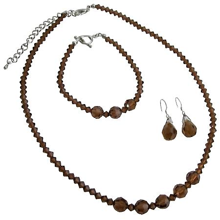 Swarovski Smoked Topaz Bracelet Custom Handmade Jewelry Set