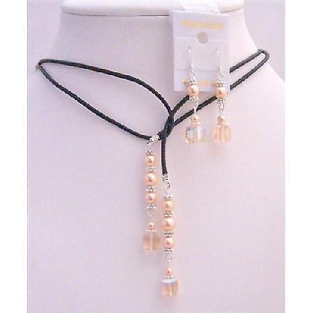 Wedding Peach Crystals Peach Pearls Lariat Necklace Sterling Earrings