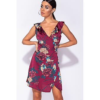 Floral Frill Trim Wrapover Mini Dress