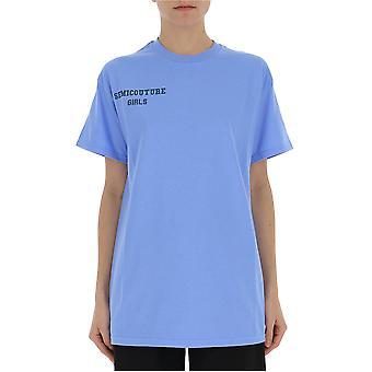 Semi-couture Cristina Light Blue Cotton T-shirt