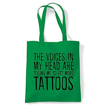Voices In My Head Get More Tattoos Tote | Reusable Shopping Cotton Canvas Long Handled Natural Shopper Eco-Friendly Fashion | Gym Book Bag Birthday Present Gift | Multiple Colours Available
