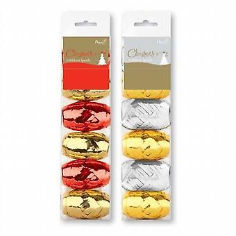 Metallic Wrapping/Craft Ribbon 5mm x 10M 12 Pack Gold/Silver - (ATSE)