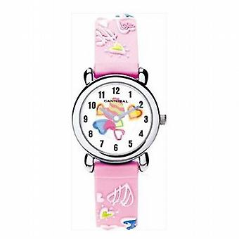 Cannibal 3D Hearts Design Pink Rubber Strap Watch CK199-14