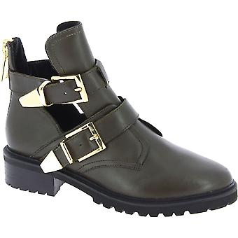Steve Madden Women's ankle boots with buckles and zip in kaki leather