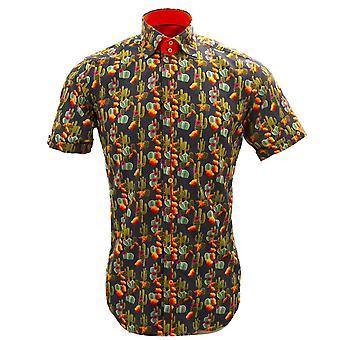 Claudio Lugli Orange Cactus Print Short Sleeve Mens Pure Cotton Shirt