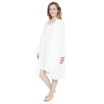 Cyberjammies 1313 Women's Nora Rose Pearl White Floral Print Dressing Gown Loungewear Bath Robe Robe