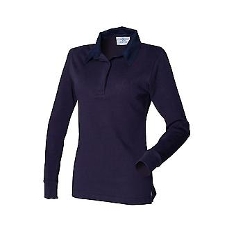 Front row women's long sleeve plain rugby shirt fr101