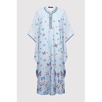 Gandoura dara girl-apos;s short sleeve collarless butterfly print maxi robe en bleu ciel (2-12 ans)