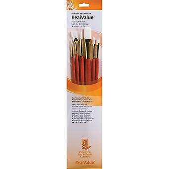 Real Value Brush Set Synthetic White Taklon Round 2,6,Fan 2,Filbert 4,Ang 4,Flat 10 P9156