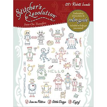 Stitcher's Revolution Iron On Transfers Robots Invade Sr 1